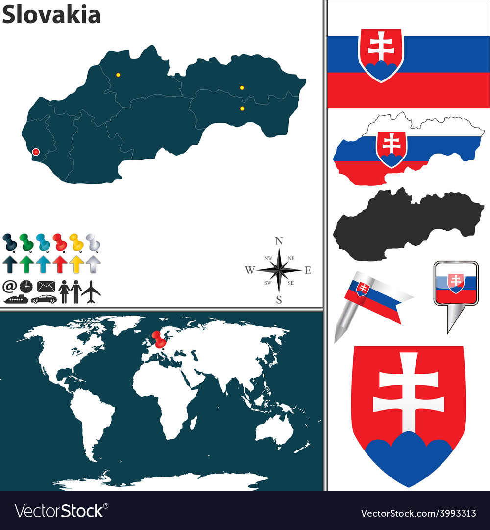 Slovakia map world vector | Price: 1 Credit (USD $1)