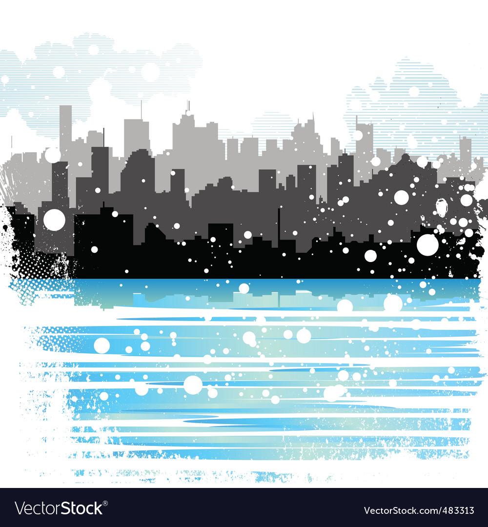Winter city vector | Price: 1 Credit (USD $1)