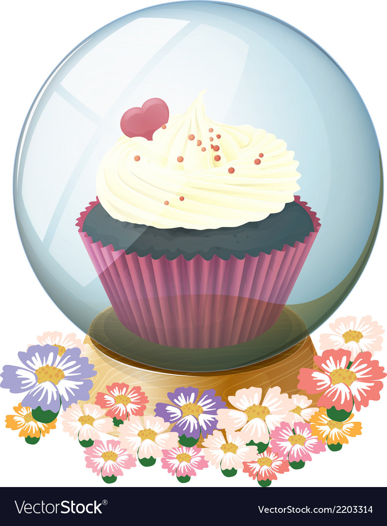 A crystal ball with a mouthwatering cupcake vector   Price: 1 Credit (USD $1)