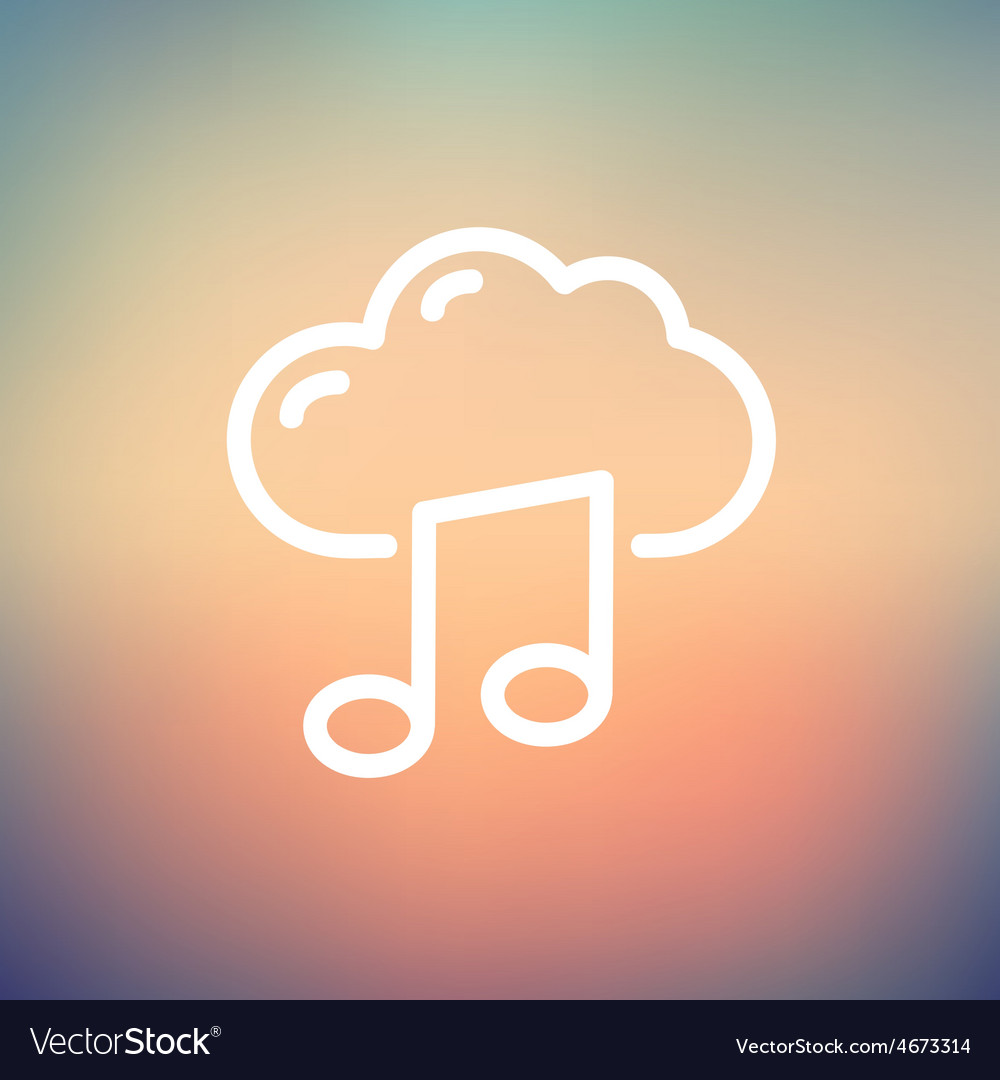 Cloud melody thin line icon vector | Price: 1 Credit (USD $1)