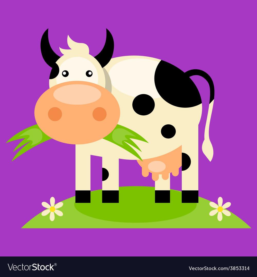 Cute baby cow cartoon vector | Price: 1 Credit (USD $1)