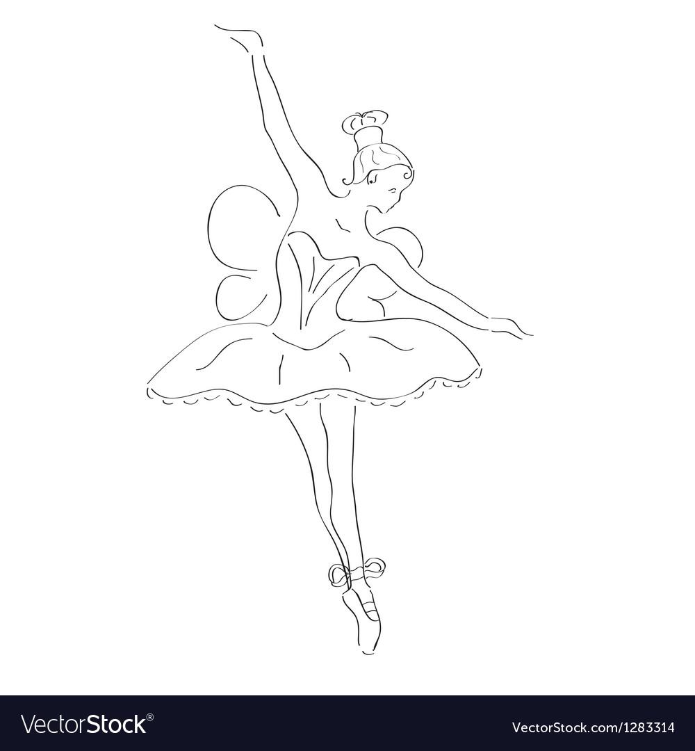 Dancing ballerina with wings vector | Price: 1 Credit (USD $1)