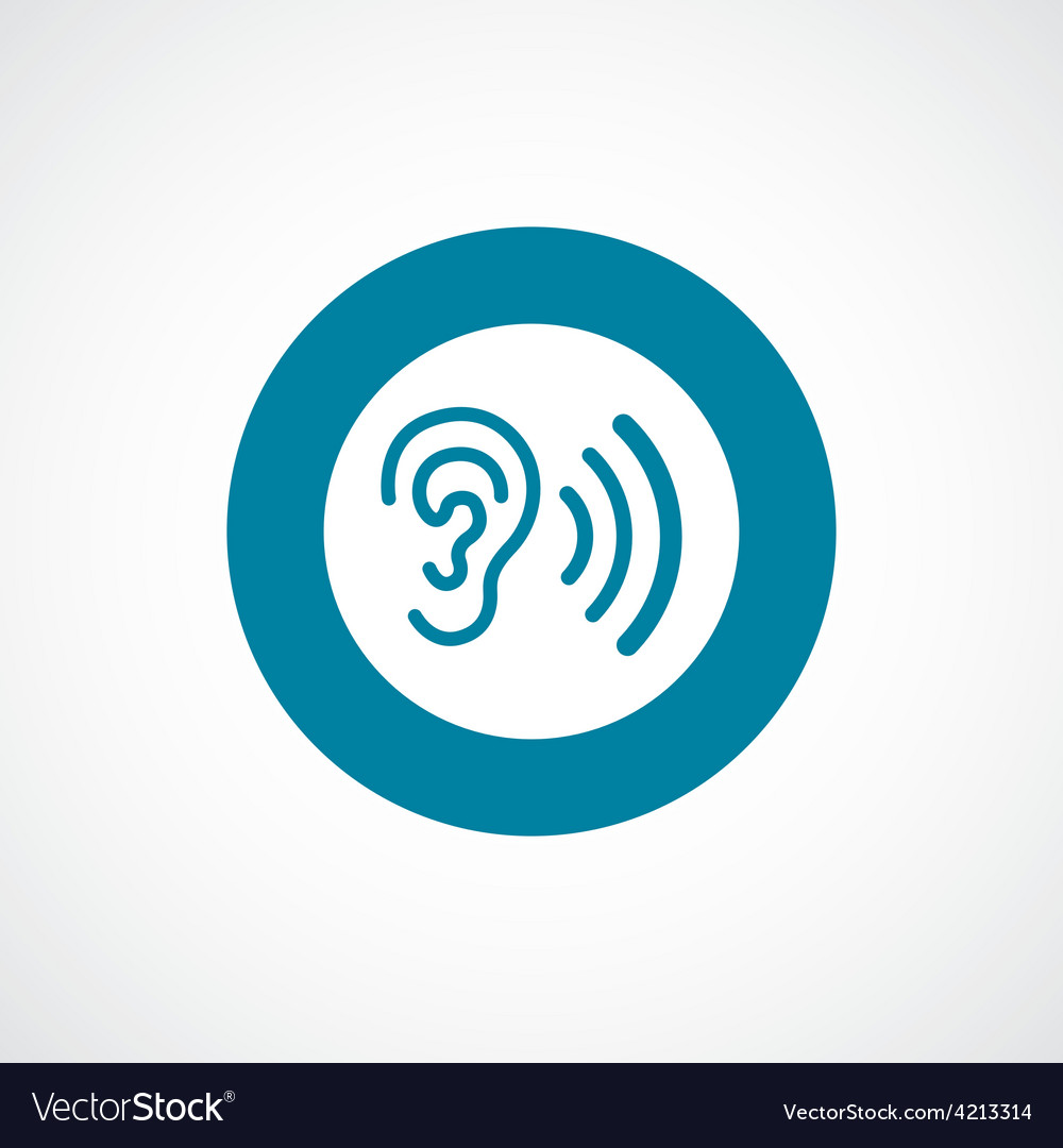 Ear icon bold blue circle border vector | Price: 1 Credit (USD $1)