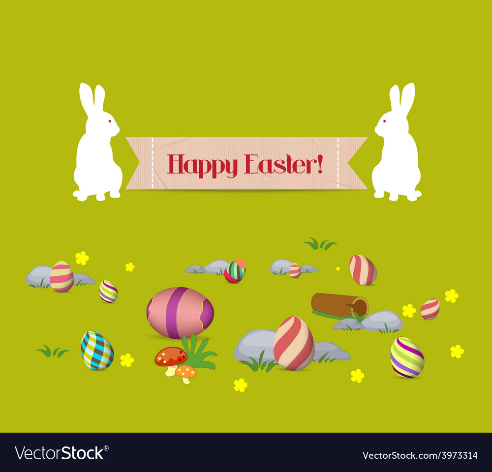 Easter eggs and bunny banner vector | Price: 1 Credit (USD $1)
