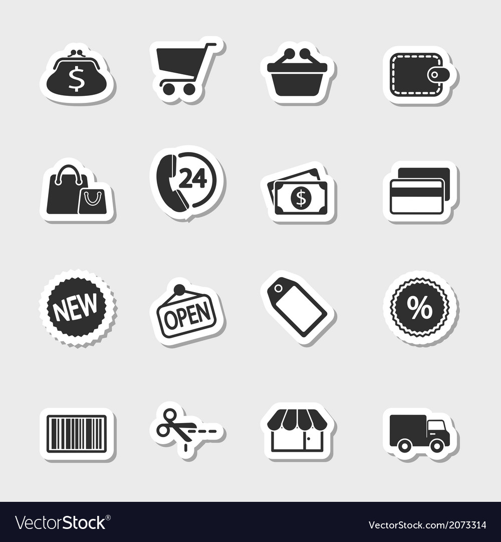 Market icons set as labels vector | Price: 1 Credit (USD $1)