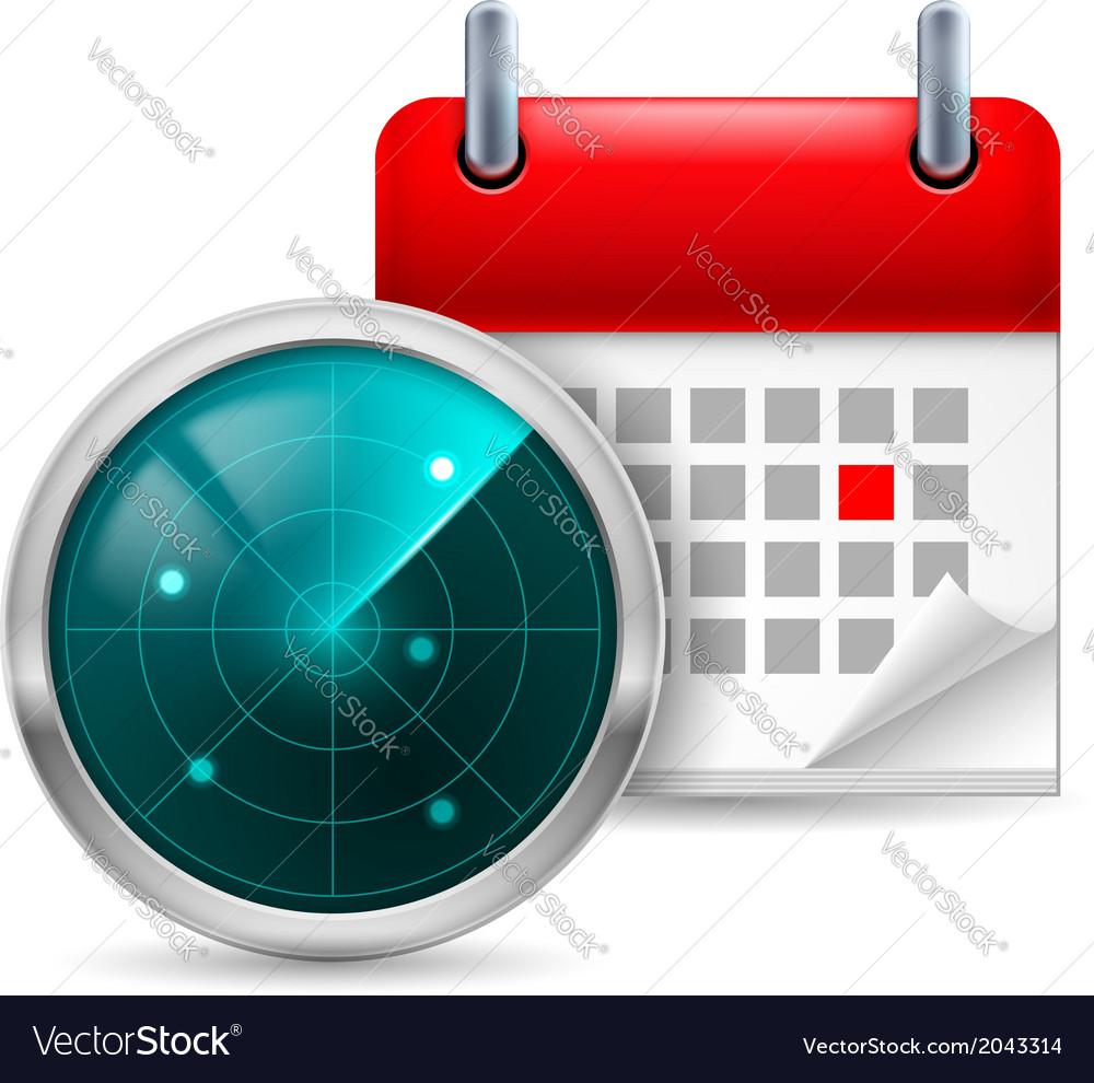 Radar screen and calendar vector   Price: 1 Credit (USD $1)