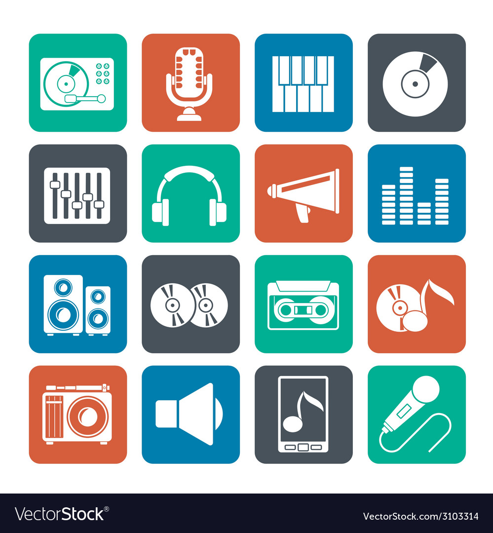 Silhouette music and audio equipment icons vector | Price: 1 Credit (USD $1)