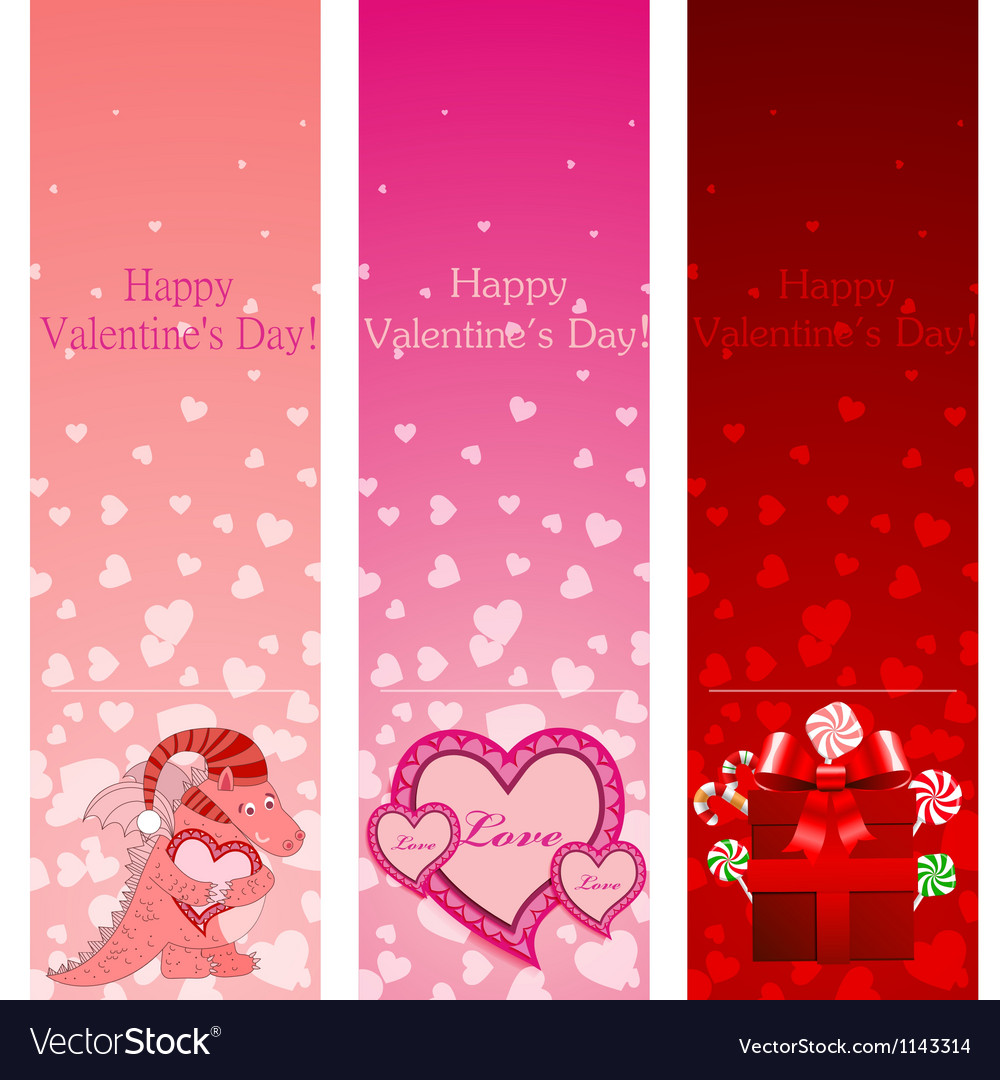 Valentine day vertical banners vector | Price: 1 Credit (USD $1)