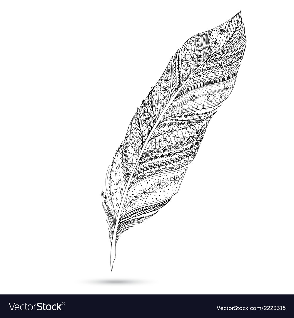Artistically drawn stylized feather on a white vector | Price: 1 Credit (USD $1)