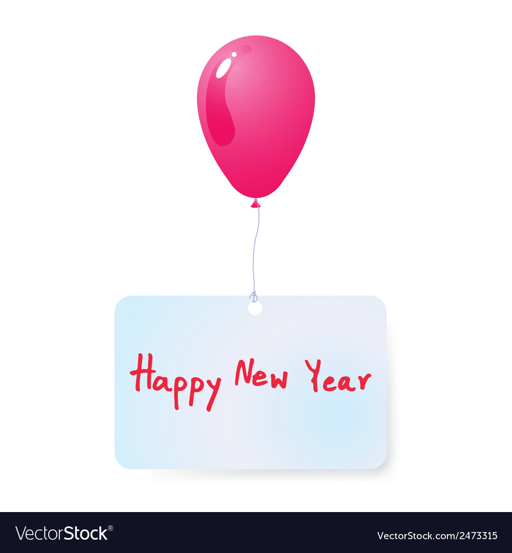 Balloon with happy new year tag vector | Price: 1 Credit (USD $1)