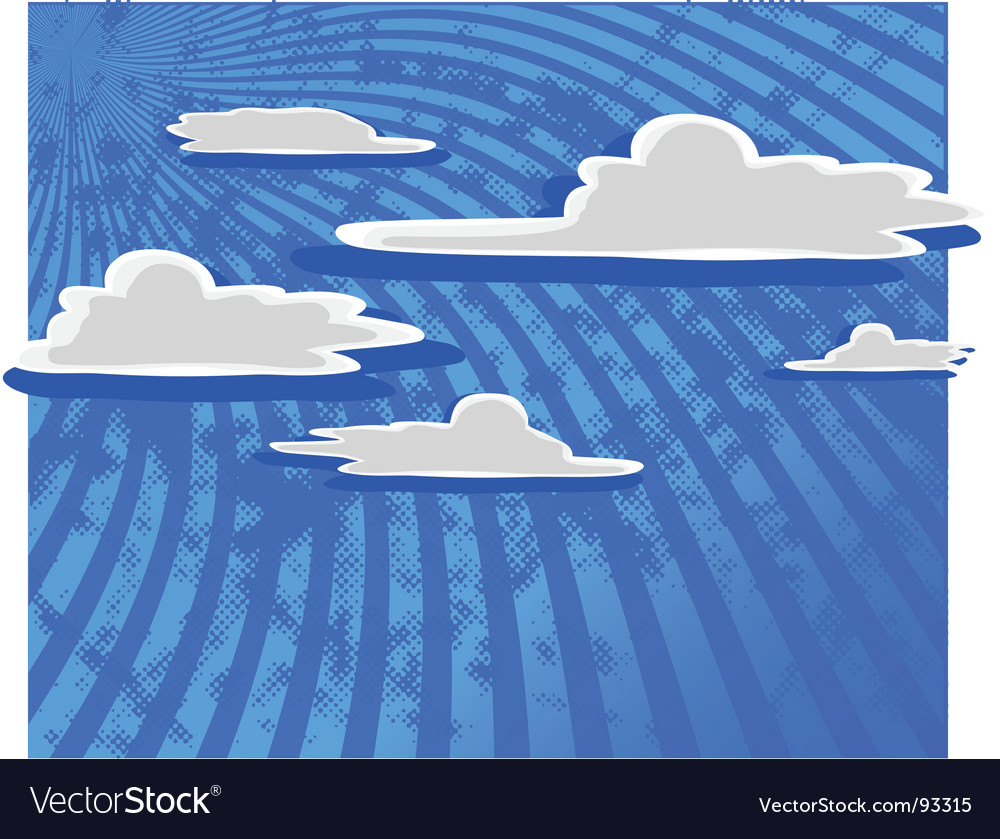 Cartoon clouds with blue sky vector | Price: 1 Credit (USD $1)