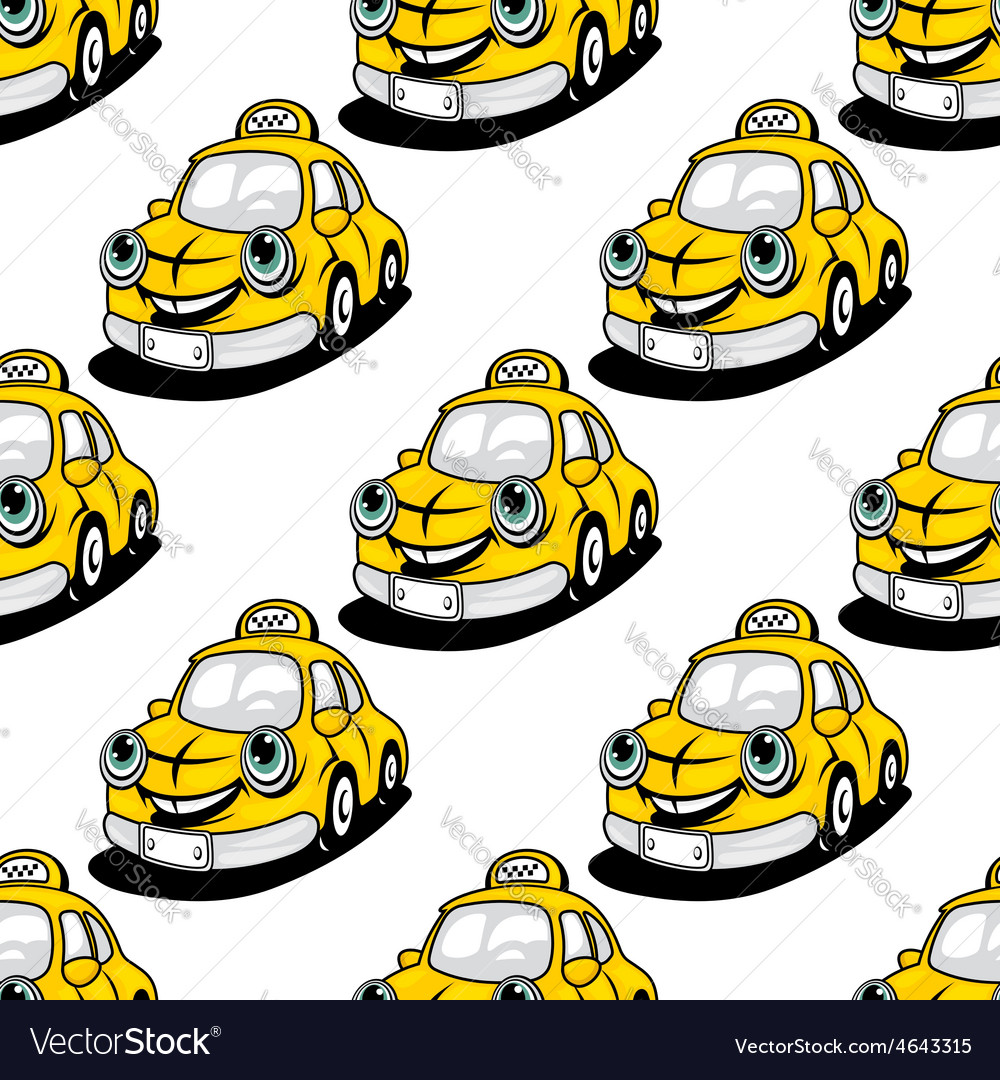 Cartoon taxi character seamless pattern vector | Price: 1 Credit (USD $1)