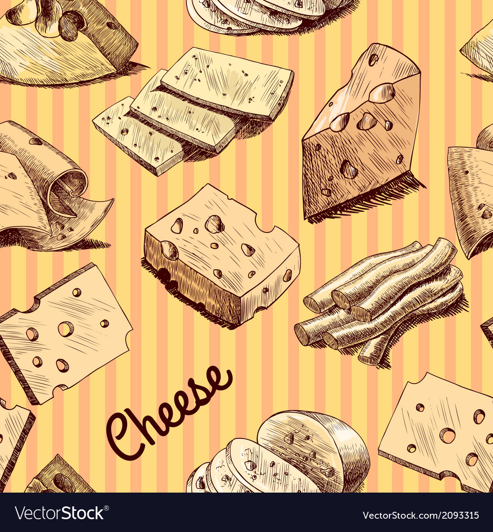 Cheese sketch seamless wallpaper vector   Price: 1 Credit (USD $1)