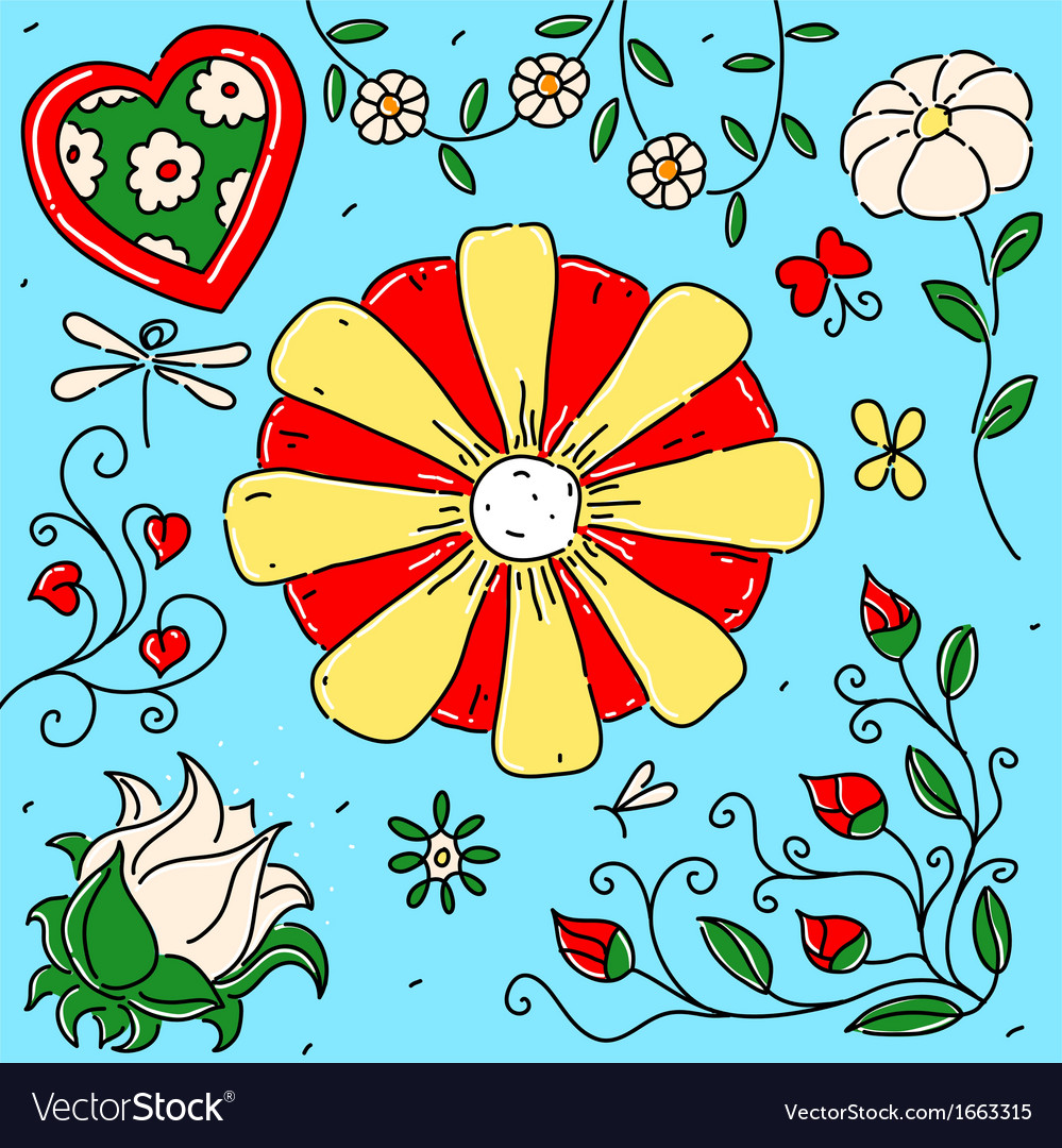 Collection of exotic flowers vector   Price: 1 Credit (USD $1)