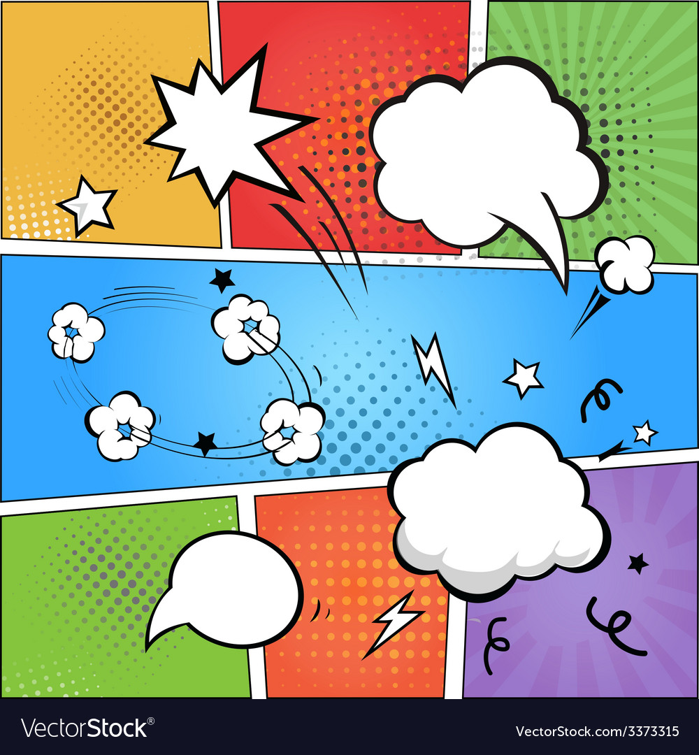 Comic strip and comic speech bubbles on colorful vector | Price: 1 Credit (USD $1)