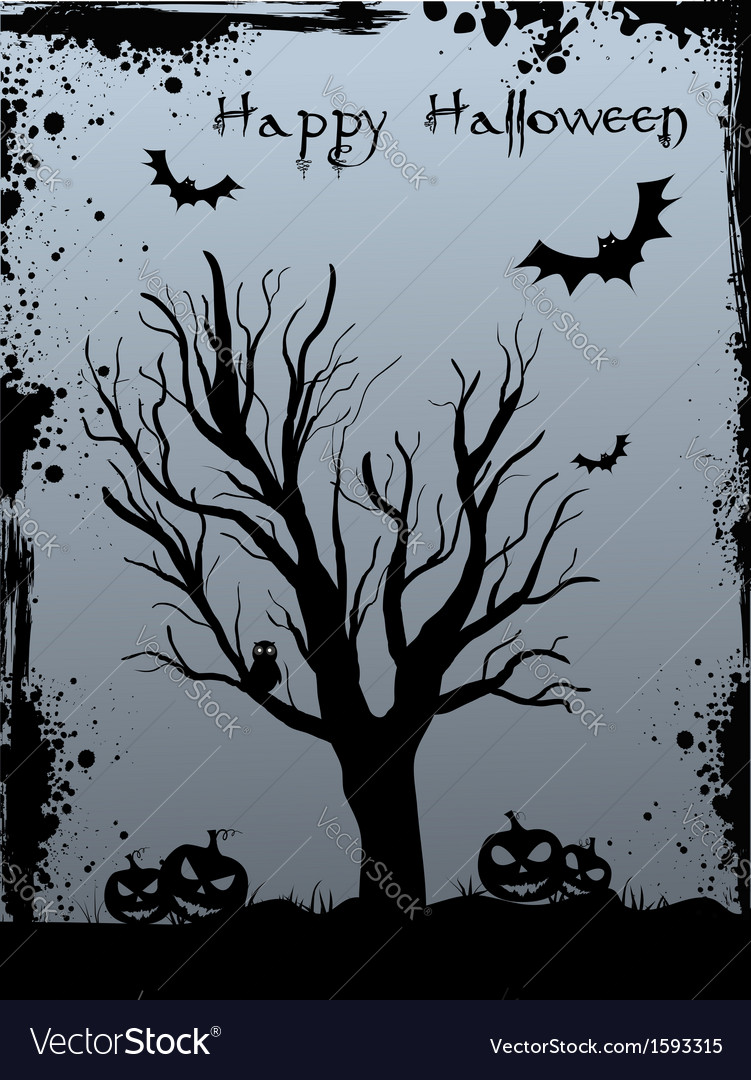 Halloween tree background vector | Price: 1 Credit (USD $1)
