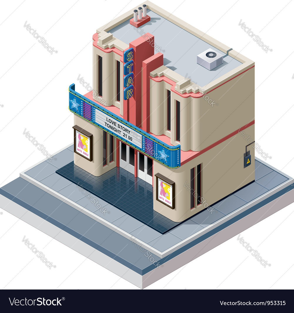 Isometric cinema building vector | Price: 3 Credit (USD $3)