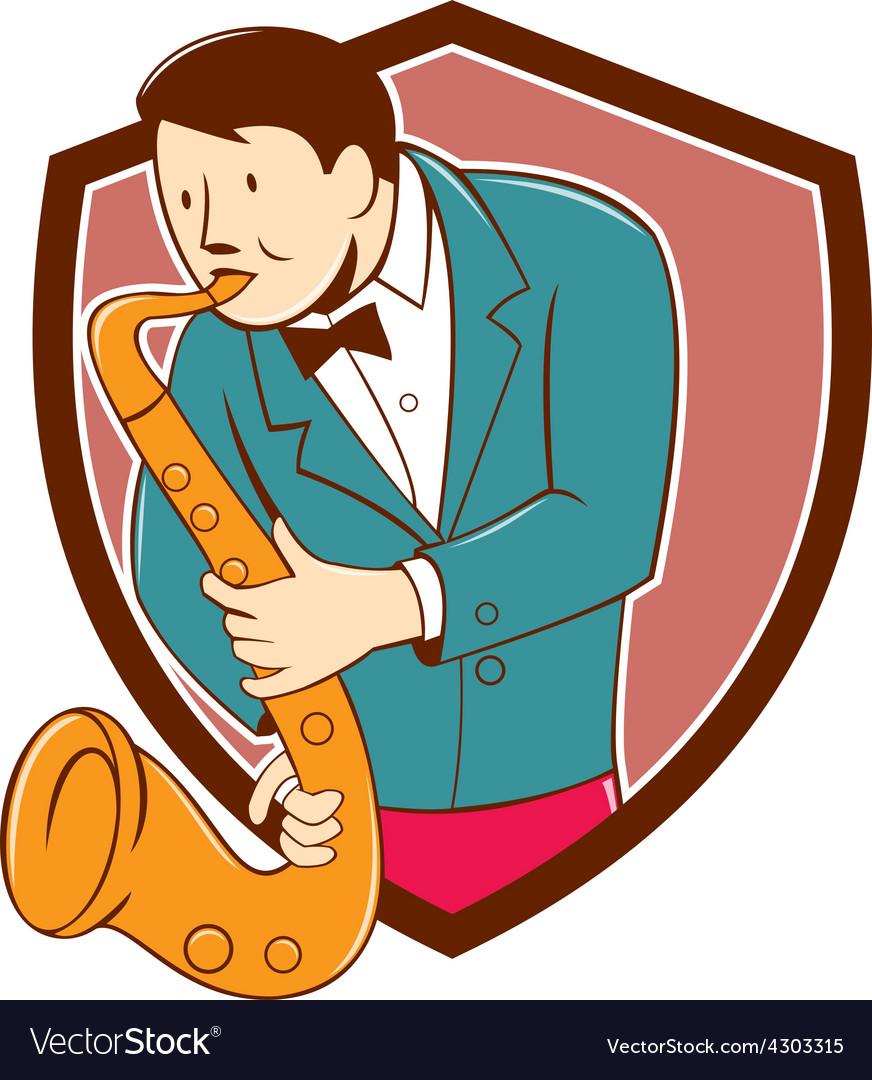 Musician playing saxophone shield cartoon vector   Price: 1 Credit (USD $1)