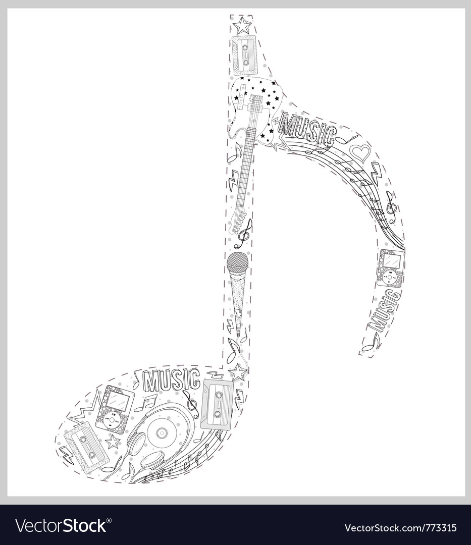 Note from hand drawn music elements vector | Price: 3 Credit (USD $3)