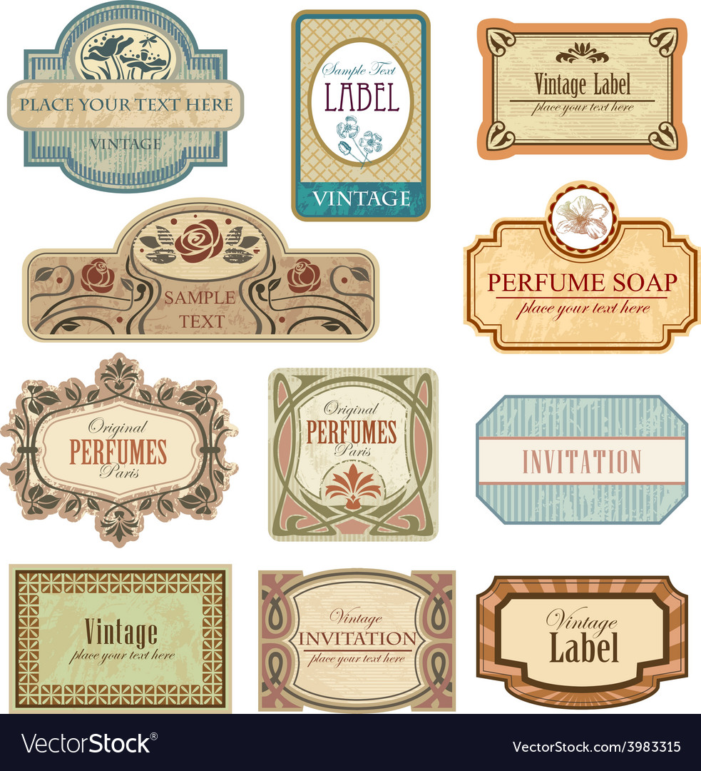 Ornate vintage labels in style art nouveau vector | Price: 3 Credit (USD $3)