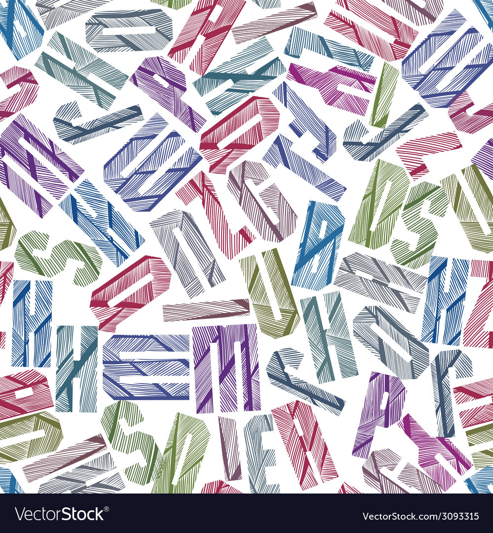 Seamless pattern with alphabet letters textured vector   Price: 1 Credit (USD $1)