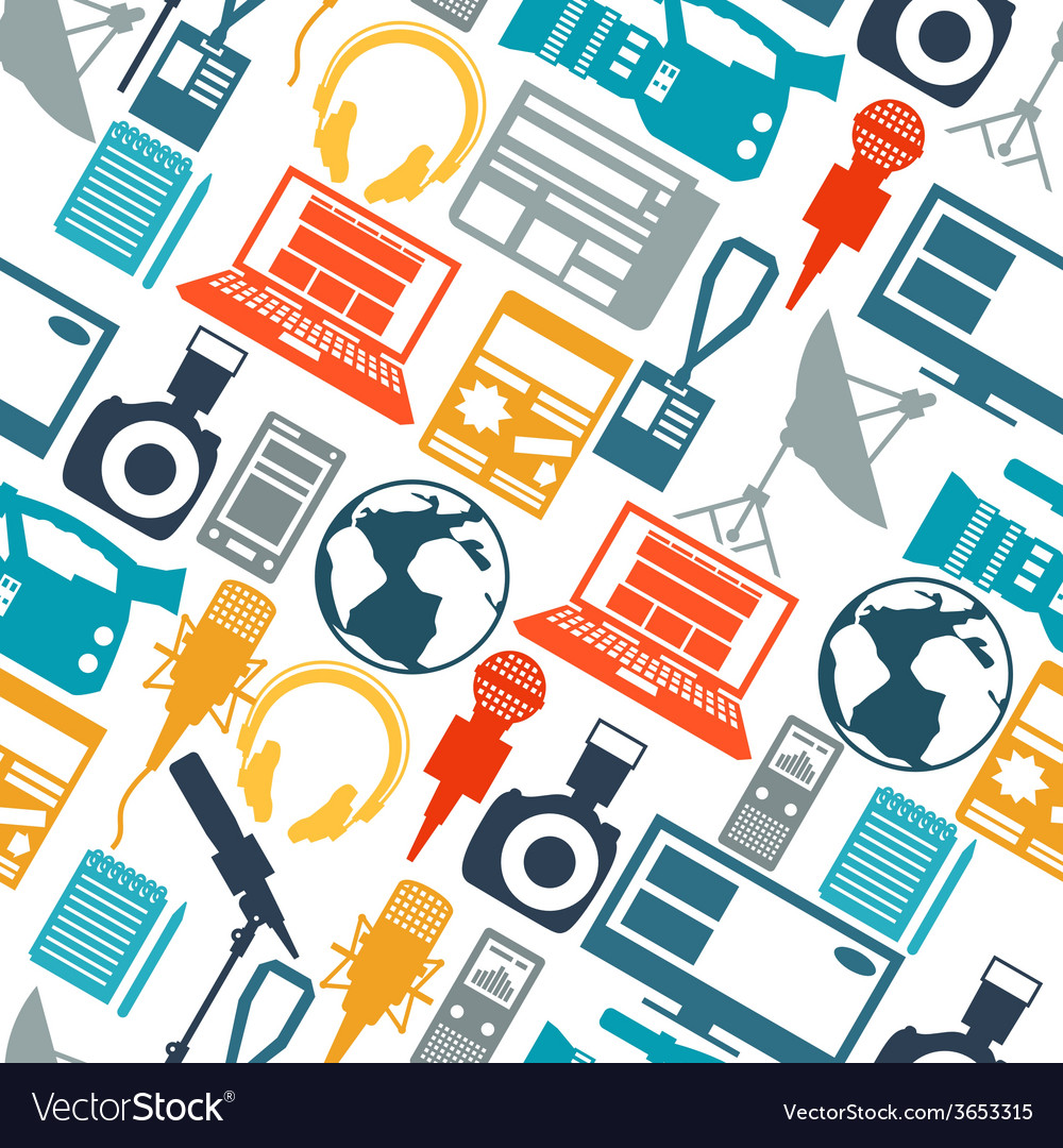 Seamless pattern with journalism icons vector | Price: 1 Credit (USD $1)