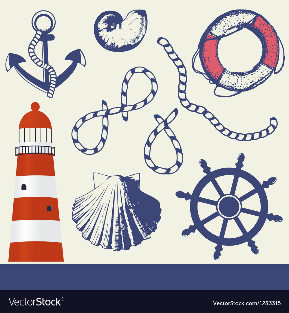 Vintage marine elements set vector | Price: 1 Credit (USD $1)