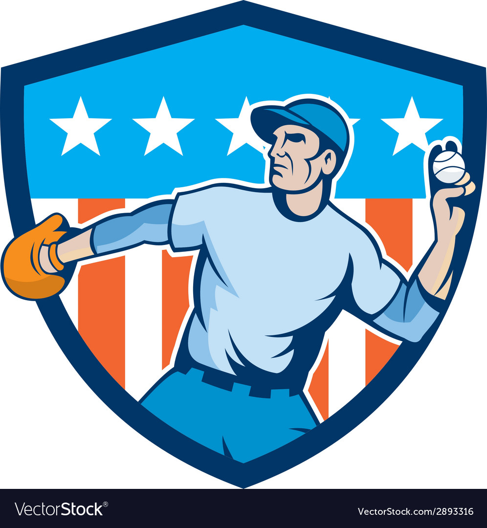 Baseball pitcher throwing ball shield cartoon vector | Price: 1 Credit (USD $1)