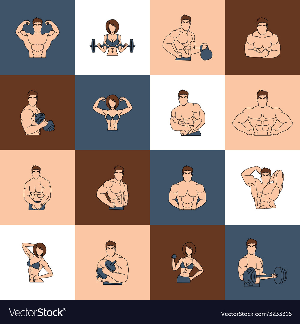 Bodybuilding fitness gym icons flat line vector | Price: 1 Credit (USD $1)