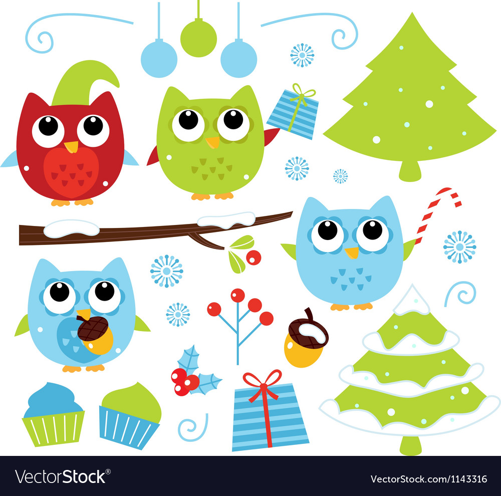 Christmas cartoon owls and decoration set isolated vector | Price: 1 Credit (USD $1)