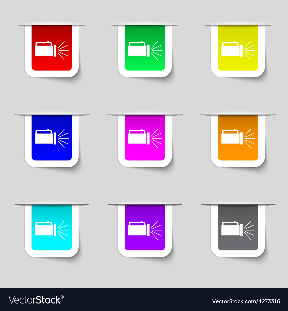 Flashlight icon sign set of multicolored modern vector | Price: 1 Credit (USD $1)