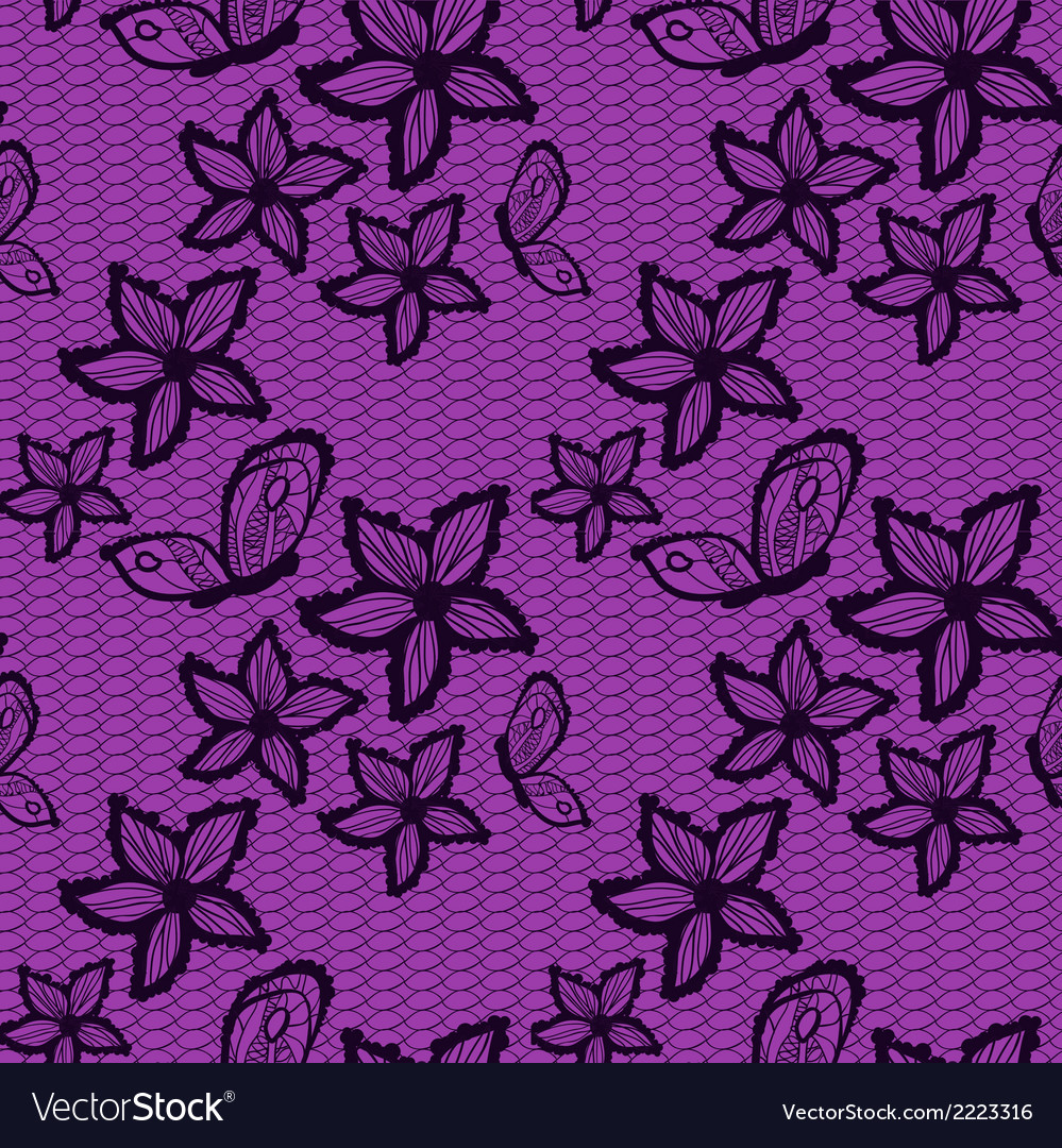 Flower and bytterfly lacy seamless background vector | Price: 1 Credit (USD $1)