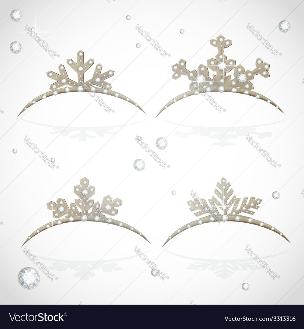 Gold crown tiara snowflakes shaped for christmas vector | Price: 1 Credit (USD $1)