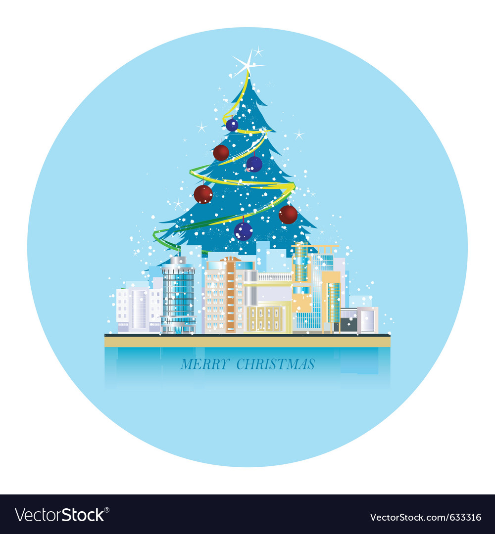 Greeting card urban landscape with the christmas s vector | Price: 1 Credit (USD $1)