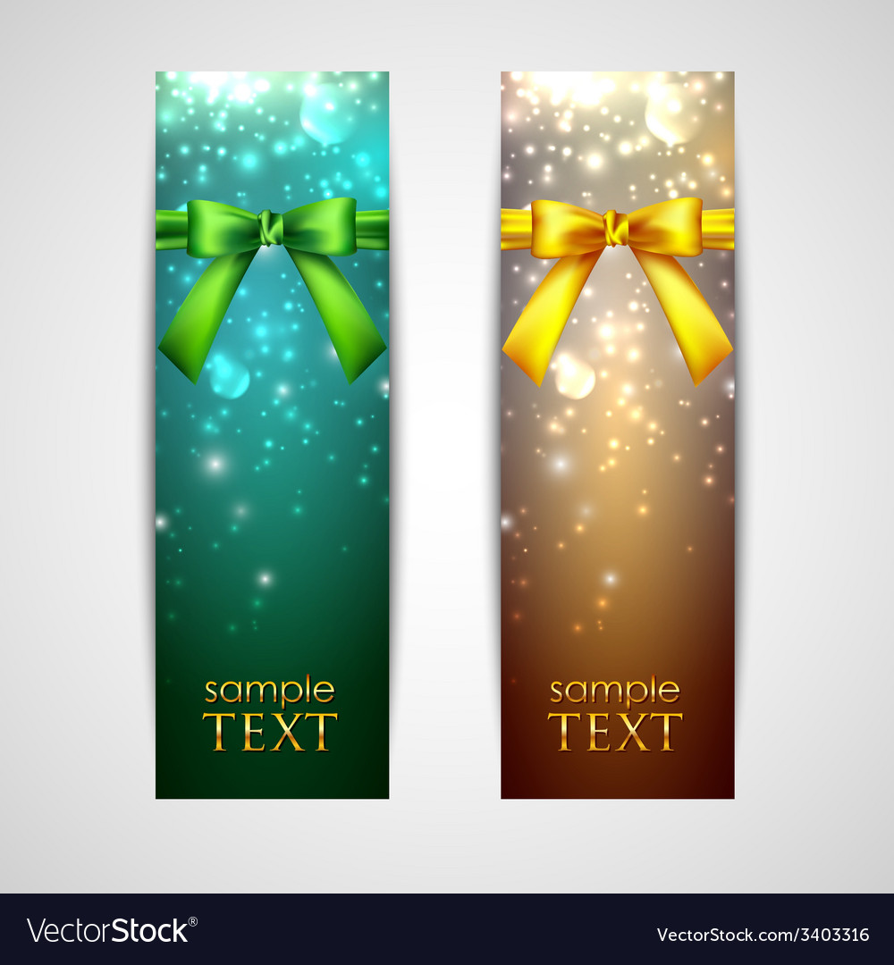 Holiday banners with yellow and green bows vector | Price: 1 Credit (USD $1)