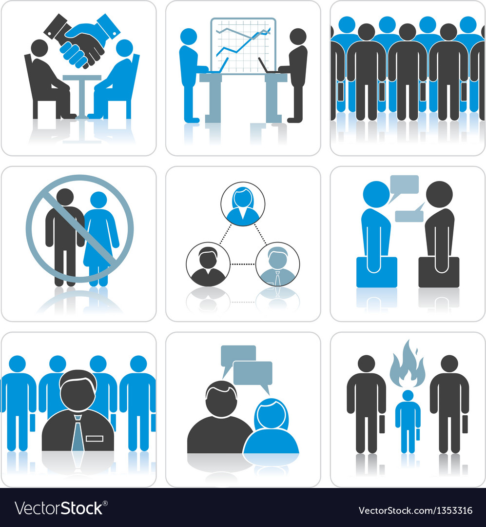 Human resources and management icons set vector | Price: 1 Credit (USD $1)