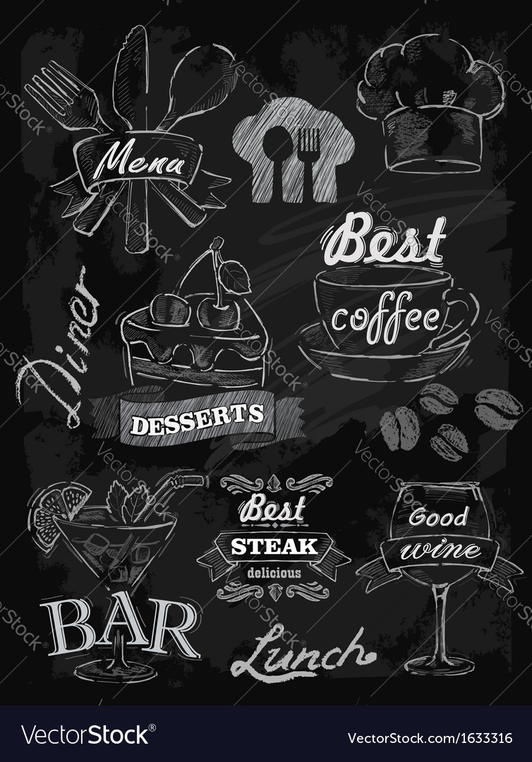 Menu set on chalkboard vector | Price: 1 Credit (USD $1)