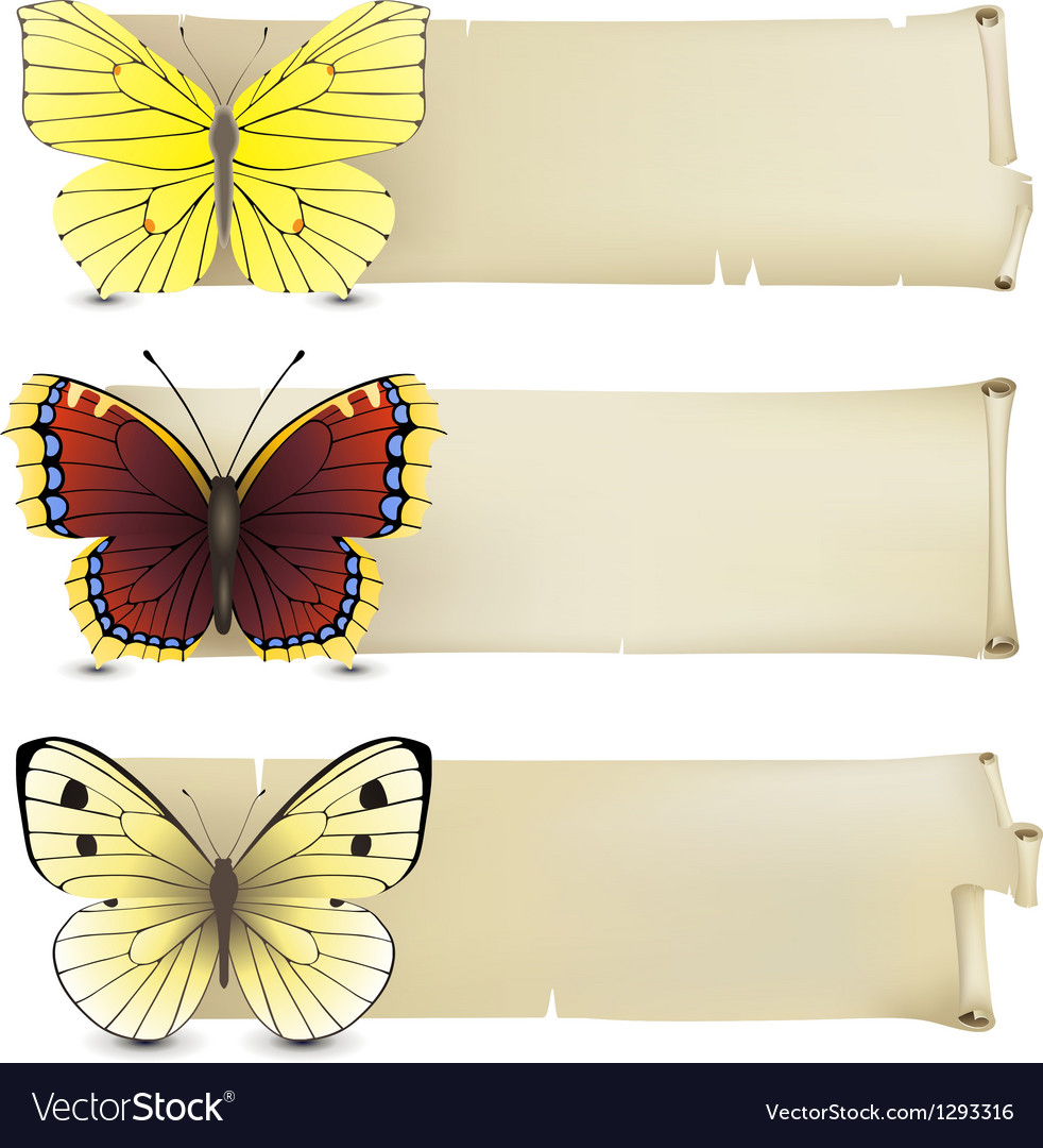 Retro butterfly banners2 vector | Price: 1 Credit (USD $1)