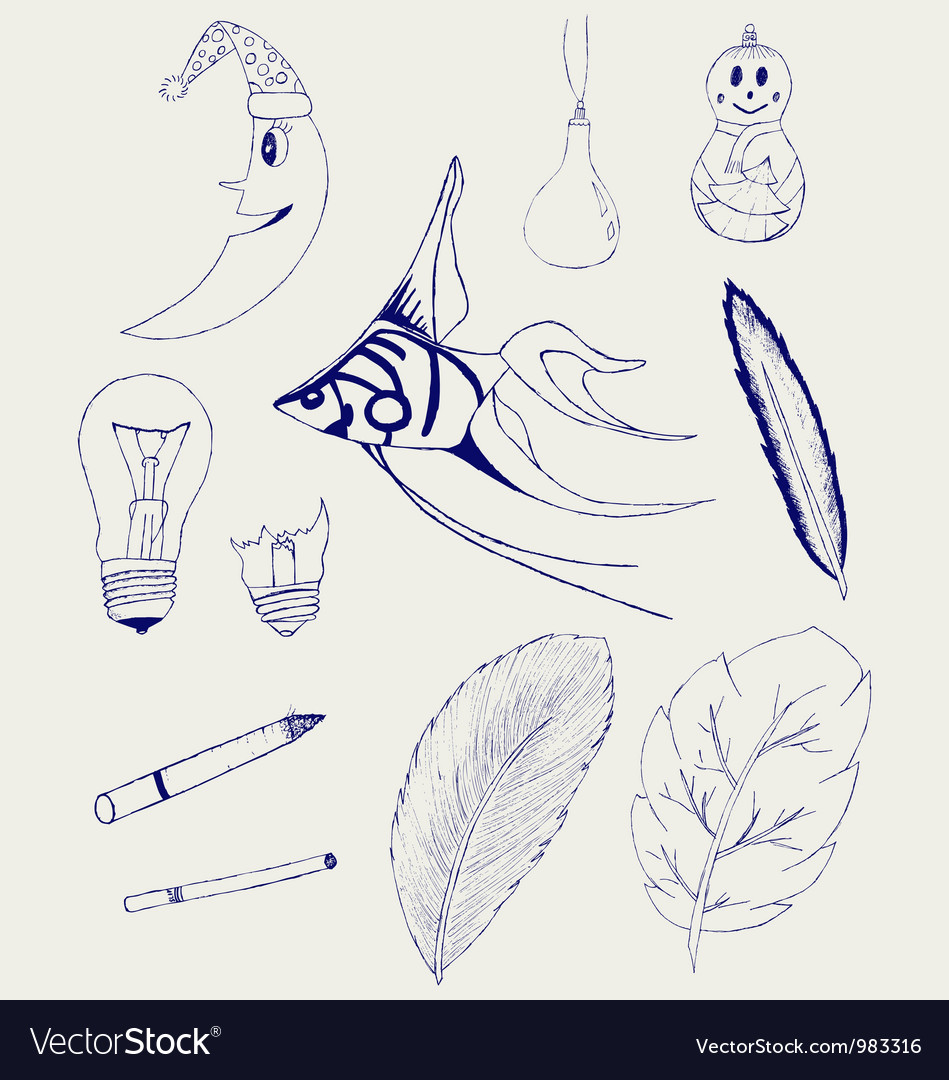 Set of hand-drawn design elements vector | Price: 1 Credit (USD $1)