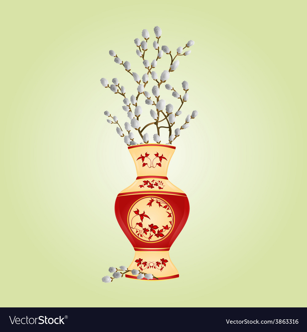 Vase porcelain with branch pussy willow spring vector | Price: 1 Credit (USD $1)