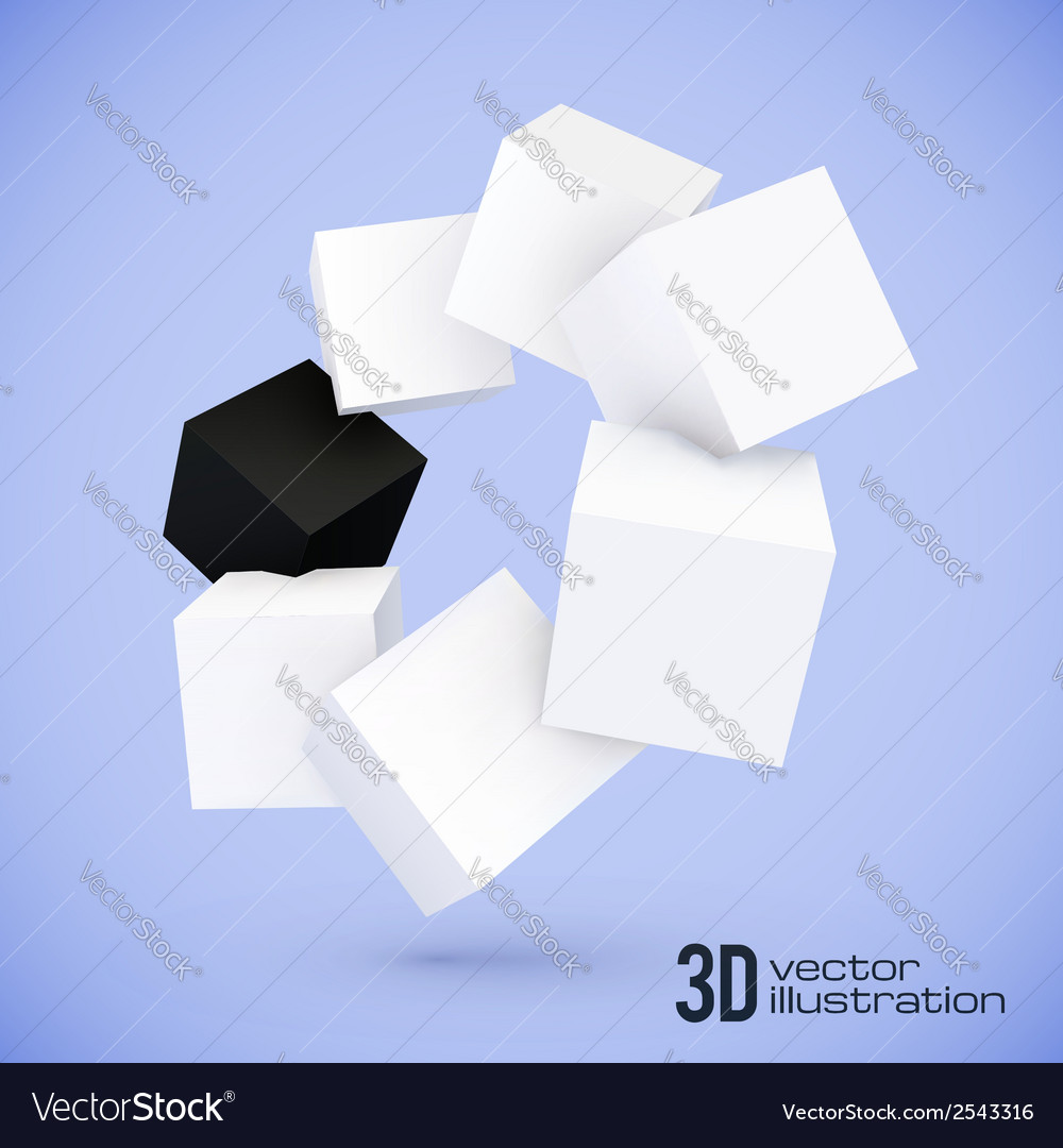 White and black cubes circle vector | Price: 1 Credit (USD $1)