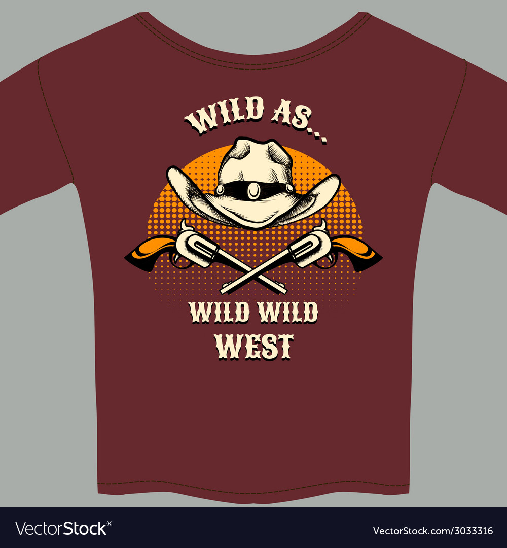 Wild west theme tee shirt with hat and gun graphic vector | Price: 1 Credit (USD $1)