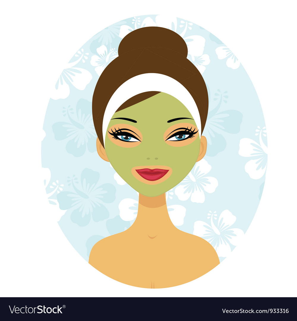 Woman with facial care mask vector | Price: 3 Credit (USD $3)