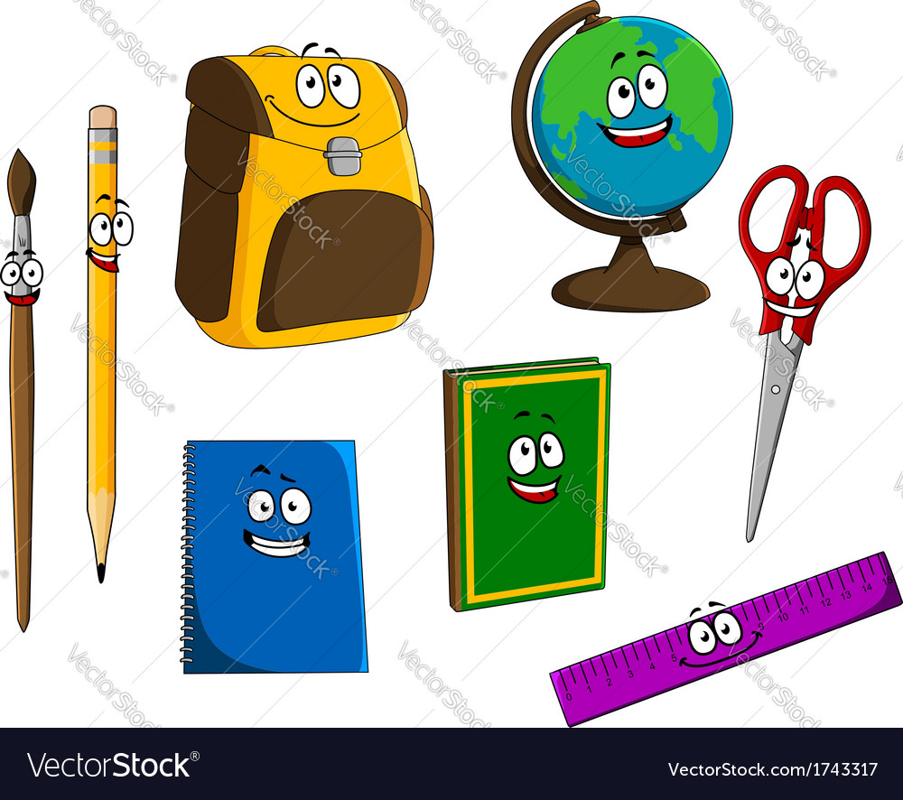 Cartoon school objects vector | Price: 1 Credit (USD $1)