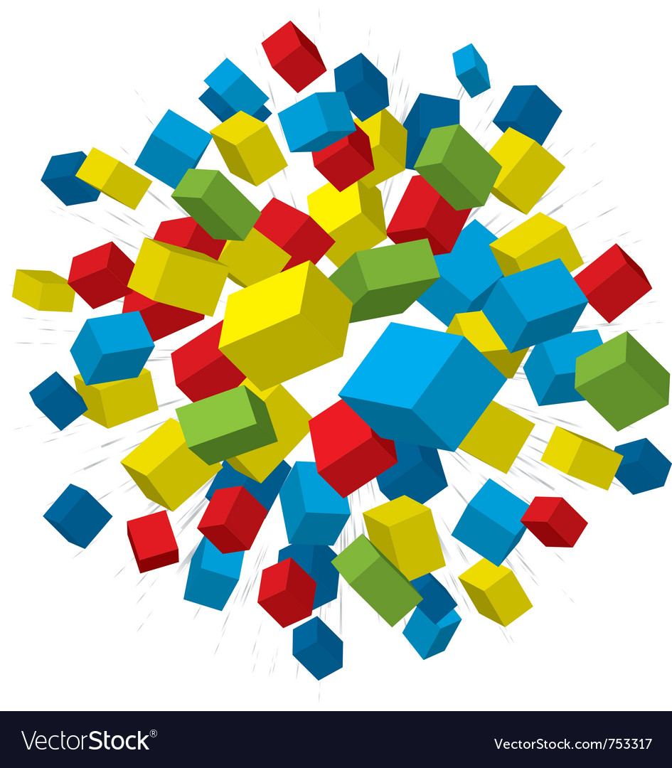 Colored boxes explosion vector   Price: 1 Credit (USD $1)