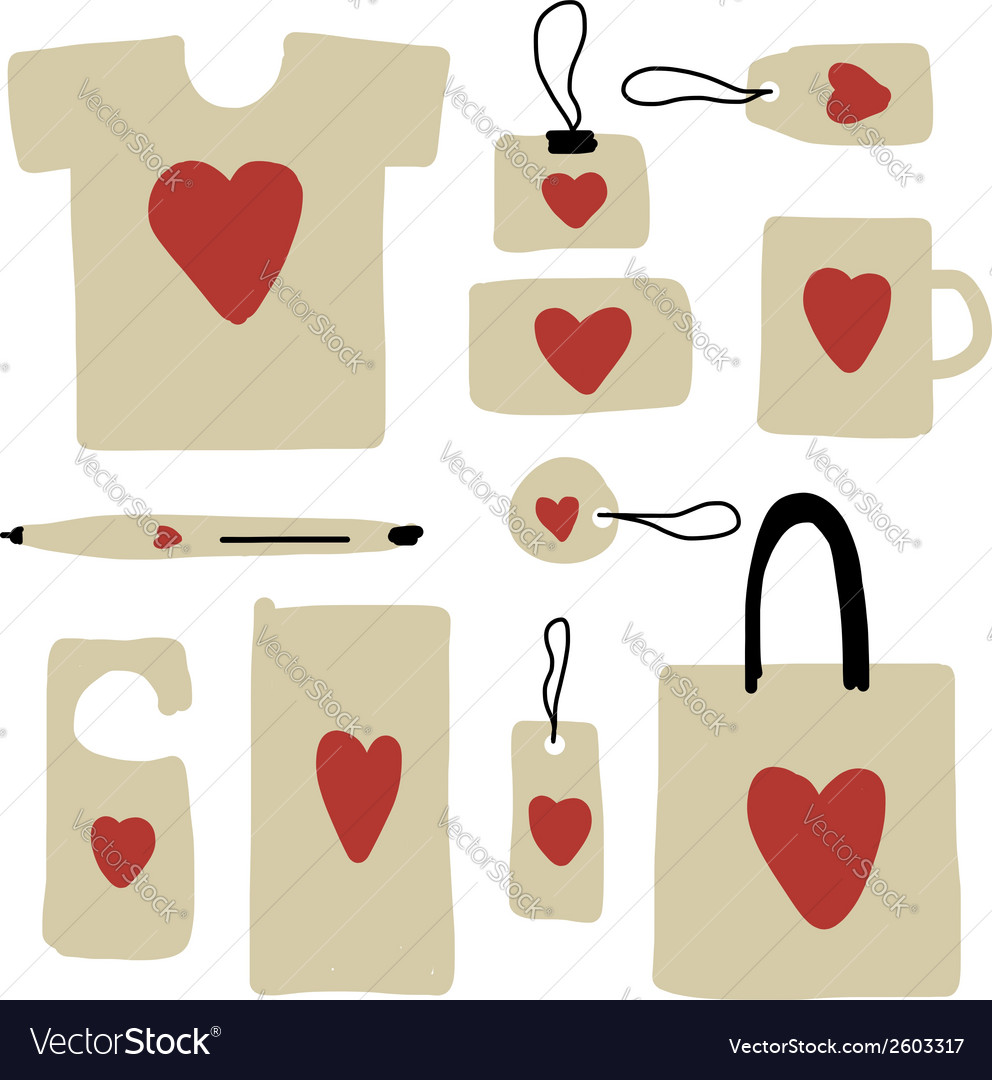 Corporate business style design with red heart vector | Price: 1 Credit (USD $1)