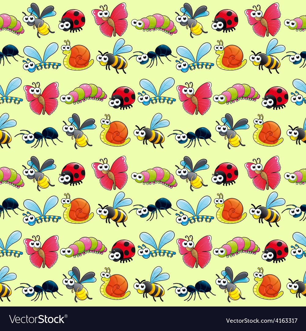 Funny insects with background vector