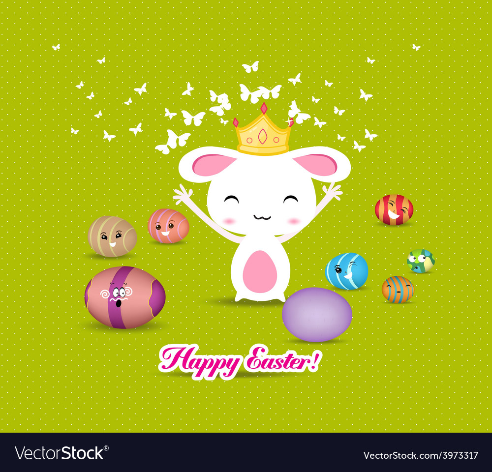 Happy easter eggs and princess bunny funny vector | Price: 1 Credit (USD $1)