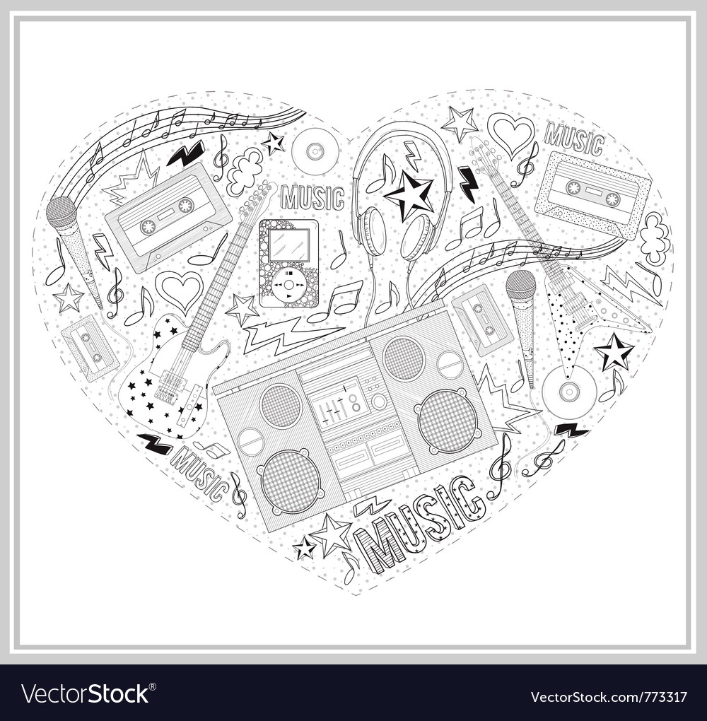 Heart from hand drawn music elements vector | Price: 3 Credit (USD $3)