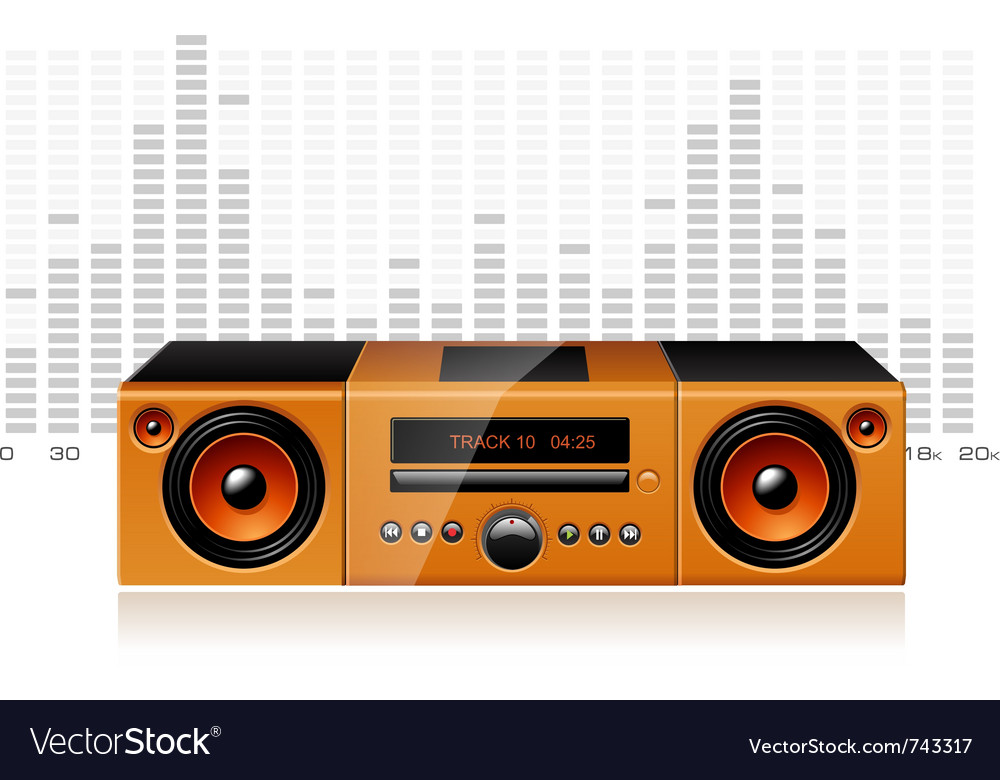 Orange boombox with signal spectrum detailed vector | Price: 3 Credit (USD $3)
